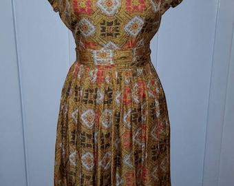 Vintage 1960s Yellow Orange Medallian Dress