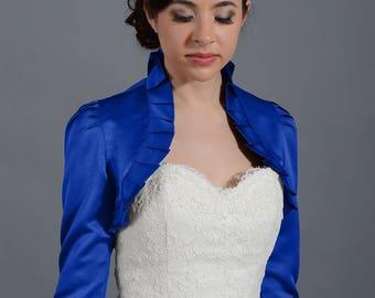 Blue 3/4 sleeve satin bolero wedding bolero jacket shrug