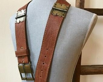 Rare Vintage Vera Belt Saddle Tan Leather Decorative Metal Hardware Hinges & Buckle Legendary Designer Street Chic Accessory With Attitude