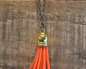 Orange and Bronze Tassel Necklace