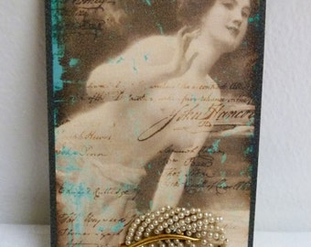 Vintage 1940's/50's Tiny Pearls Feather Plume, Gold Tone Brooch Pin, Victorian Neo-Classical Pin Up Card Display