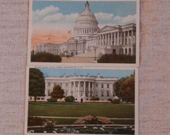 2 Vintage Washington, D.C. Post Cards, The U.S. Capitol and The White House South Front, Unused