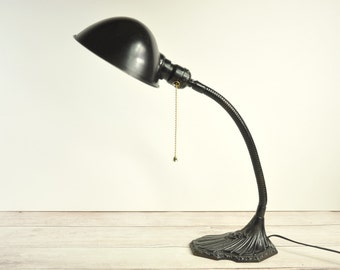 Vintage Gooseneck Desk Lamp, Industrial Meta Lamp, Industrial Lighting, Office Decor