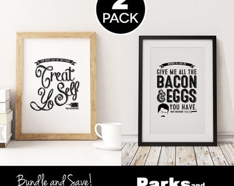 """Ron Swanson + Tom Haverford Quote Posters """"Bacon and Eggs"""", """"Treat Yo Self"""" ~ 2 Bundle Pack ~ Printable Art Posters ~ Parks & Recreation"""