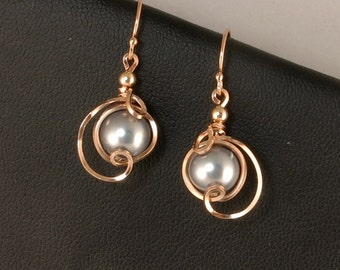 Rose Gold Gray Pearl Earrings, Unique Wire Wrapped Rose Gold Pearl Earrings, Pink Gold Earrings, Rose Gold Pearl Wedding Jewelry