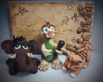 SET Prehistoric Polymer Clay Figurines: Sabertooth Tiger, Wooly Mammoth, CaveMan, & Cave Painting Background