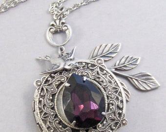 Botannical Amethyst,Locket,Necklace,Amethyst,Purple,Antique,Silver Locket,Birthstone,Amethyst Birthstone,Purple Stone.Valleygirldesigns.