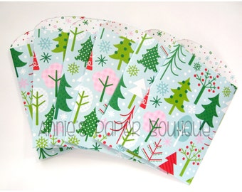 Christmas Tree Paper Pockets - Treats, Gift Card Holders, Business - Mini Coin, Bags, Envelopes, Book, Library, Planners, Travelers Notebook
