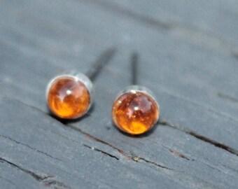 Genuine Citrine 5mm Bezel Set Gemstone on Niobium or Titanium Posts (Nickel Free & Hypoallergenic Stud Earrings for Sensitive Ears)