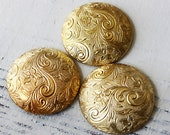Vintage Brass Stampings - Brass Button Cover  - Round Dome - Jewelry Making - Brass Findings - Scrapbooking  (8 pieces) 29mm