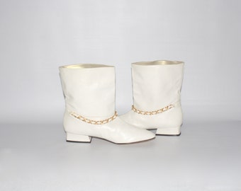 Vintage Ankle GO-GO Boots Cream Leather Chain NORMA B Booties
