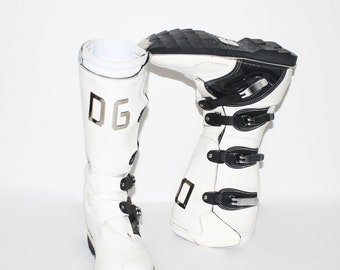 DOLCE GABBANA Vintage Black White Leather Motocross Fashion Boots 37 - AUTHENTIC -