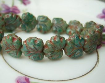 Czech glass maple leaf turquoise green bead lot of (10) - SW125
