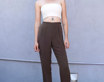 Vintage Silk Cocoa 1990's Minimalist Brown High Waisted Tapered Trousers S/M 28