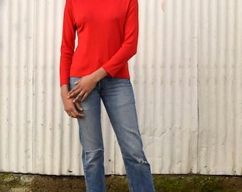 Vintage Pendleton Cotton 1990's Scarlet Red Turtleneck Long Sleeve Knit Top S/M