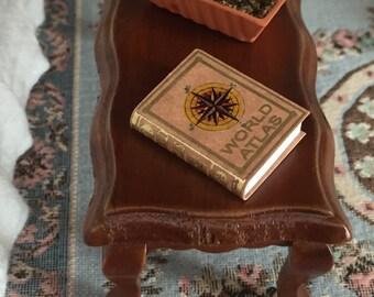Miniature Atlas, Embossed Leather Cover Bound Atlas, Dollhouse Miniature, 1:12 Scale, Dollhouse Scale Book, Mini Book, World Atlas Book