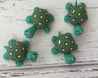 Mini Turtles, Set of 4, Fimo Clay Turtles, 1 Inch, Perfect for Crafts, Floral Arrangements, Favors, Toppers, Embellishments