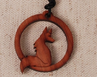 Fox Pendant - Fox Necklace - Cute Fox Pendant - Red Fox Pendant - Sitting Fox Necklace - Wood Pendant - Wood Necklace