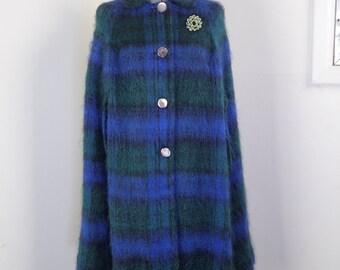 "Vintage 1960s Mod ""The Scotch House"" Mohair Wool Tartan Plaid Cape-Cobalt Blue/Emerald Green+Abalone"