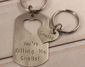 CUSTOM TEXT Dog Tag & Heart Set - available as keychain or necklace set (or mix thereof)
