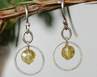 Green Garnet Silver Hoop Earrings, January Birthstone Earrings,  Christmas Gift for Her, Everyday Jewelry, Gemstone Earrings