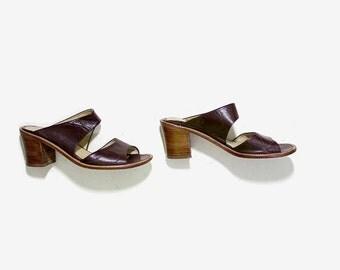 Vintage Mules 8 / Brown Leather Mules / Peep Toe Mules / Minimal Heels / Strappy Sandals