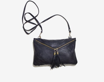 Vintage Leather Mini Purse / Mini Leather Bag / Black Leather Purse / Black Leather Clutch / Leather Wristlet