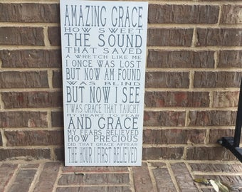 Amazing Grace Wall Art ~Amazing Grace Custom Wood Sign ~Christian Sign ~Prayer Sign ~Nursery Decor ~Christian Wall Hangings ~Hymn Sign