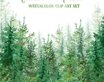 Christmas Clipart, Christmas Trees Clipart, Watercolor Christmas Trees, Nature Clipart, Forest Clip Art, Holiday Clipart