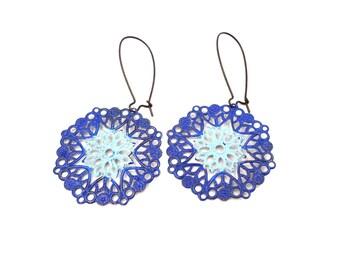 Turquoise Filigree Earrings - Boho Earrings - Filigree Jewelry - Lace Earrings - Long Earrings - Bohemian Earrings - Moroccan Earrings