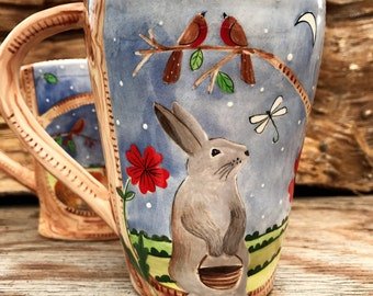 Spring is in the Air!  - Rabbit Mug, Coffee Mug, READY TO SHIP