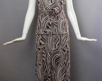 70s Diane Von Furstenberg DVF halter top skirt set glam studio 54 disco brown print  two piece cotton rayon outfit dress vintage 1970s