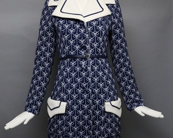 60s LILLI ANN Knit navy poly jersey print COAT & dress set w/ belt vintage 1960s