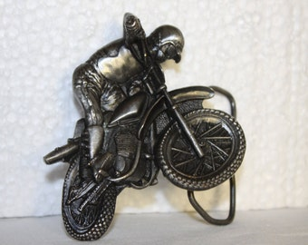Motocross Vintage Belt Buckle 1977 Made in USA Motorcycles Bergamot Brass Works Style W-38