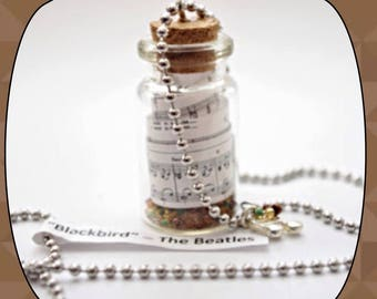 Blackbird Beatles-Themed Bottle Necklace