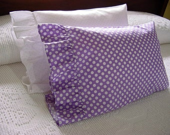 Ruffled Li'L Boudoir Pillowcase -Toddler Travel Lumbar Pillow Cover -Purple & White with Polka Dots for 12x16 ..Other colors made to order