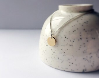 Gold dot necklace - gold brass disc on sterling silver chain - simple gold circle pendant - silver 925 - gold brass