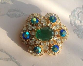 Vintage Brooch, Green Diamonte, 1950s, Green Stone Brooch, Statement Brooch
