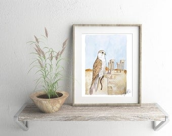 Saker Falcon - ALL Proceeds Donated to Refugee Aid - bird painting, printable wall art print, instant download, desert art printable