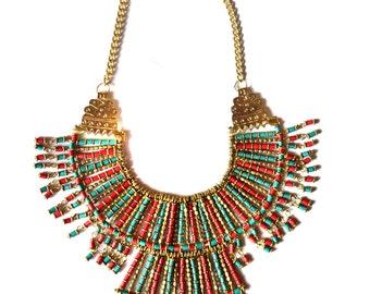 Bohemian Bib Necklace,Red Turquoise Gold Bib Necklace,Nepal Necklace,Statement Jewelry,Tribal Jewelry,Tibet Necklace,Cleopatra by Taneesi