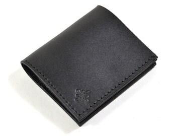Black Bridle Leather Bi Fold Card Bill Wallet Handmade