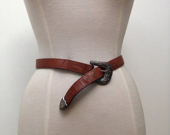 Vintage 1970s Brown Leather Belt with Etched Buckle and Tip
