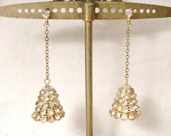Original Art Deco 1940s Clear Crystal & Rhinestone Dangle Earrings Vintage Gold Drop PIERCED Antique Flapper Great Gatsby Bridal
