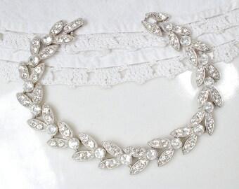 Art Deco Rhinestone Bracelet, Pave Paste Leaf Link Bridal Bracelet, Silver Wide Vintage Wedding Great Gatsby Flapper 1920s 1930s Jewelry