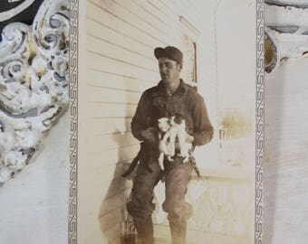 Man with Kittens-Outdoor Photograph-Black and White Snapshot-1930s-Antique-Vintage-Photograph