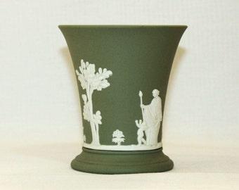 Wedgwood Sage Green Jasperware Vase - Grecian - Cherub