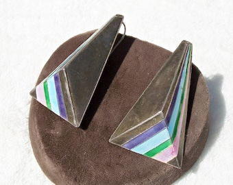 Rainbow Enamel Sterling Silver Earrings Geometic S.925 Pyramid Vintage 1980's Large Wires Oxidized