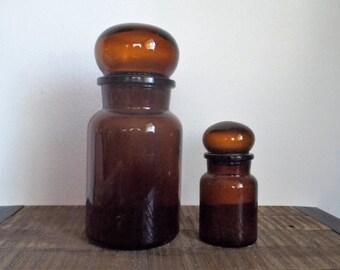 Pair of Vintage Brown Glass Belgium Apothecary Jars
