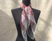 Vintage Chiffon Scarf, 60's Sheer Red, Purple and White Floral, Rockabilly Style, Headscarf, Hair Wrap