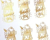 GOLD FOIL Thank You! mason jar with flowers handlettered stickers - gold thank you stickers for packaging, gift wrapping